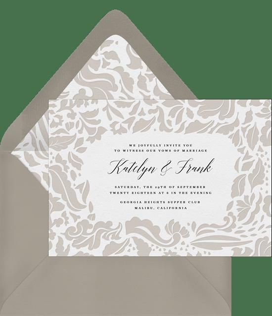 sophisticated damask invitations in creme greenvelope com