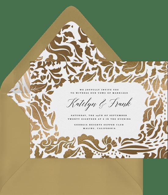 sophisticated damask invitations in gold greenvelope com