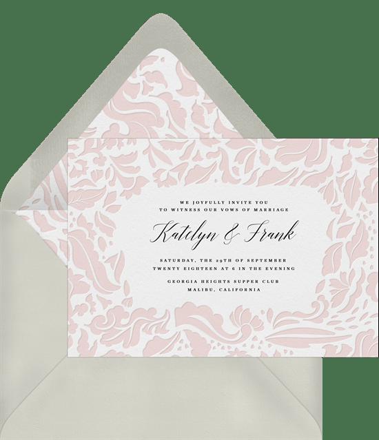 sophisticated damask invitations in pink greenvelope com