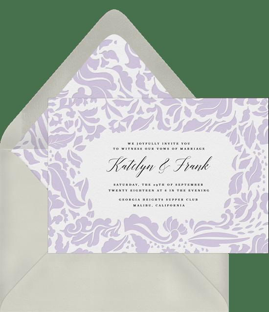 sophisticated damask invitations in purple greenvelope com