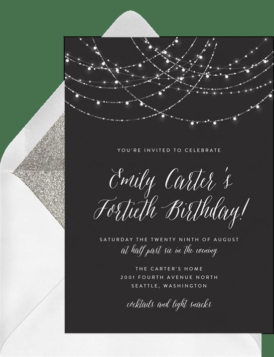 Sparkling String Lights Invitation