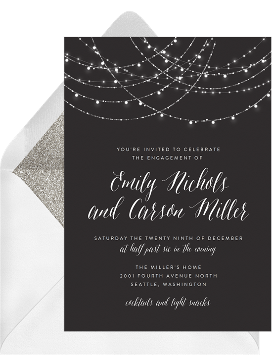 sparkling string lights invitations in black greenvelope com