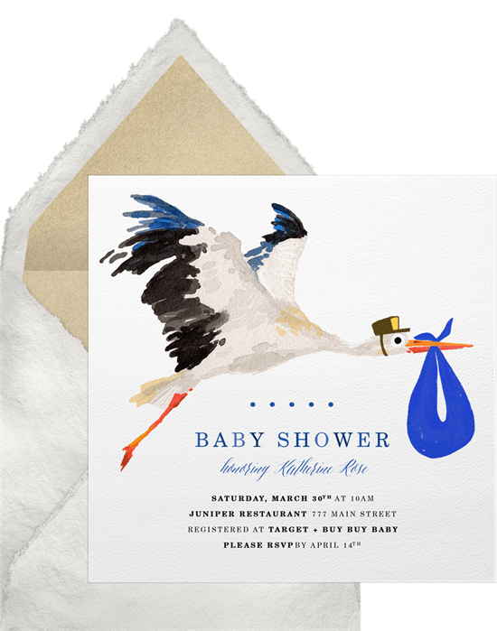 Special Delivery Stork Invitations In Blue Greenvelope