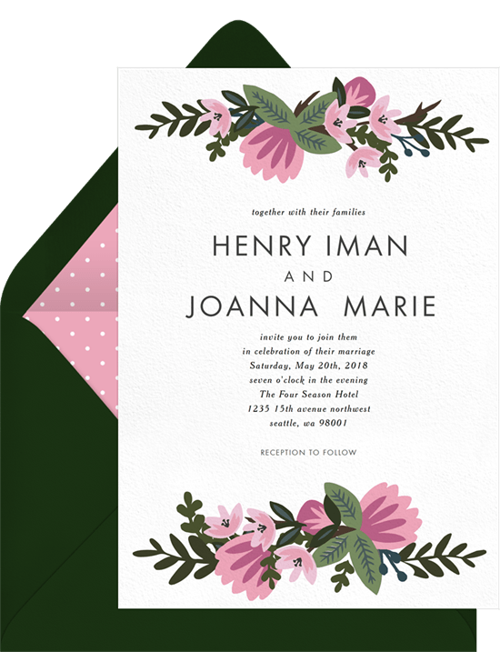 Spring Wedding Invitations In Pink Greenvelope Com