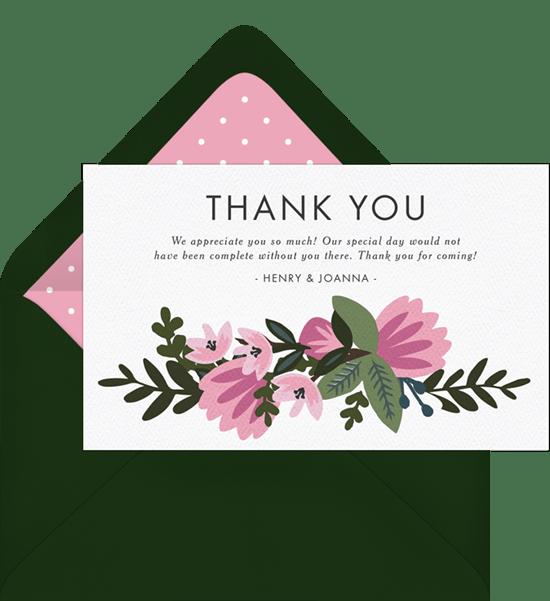 spring wedding thank you notes in pink greenvelope com