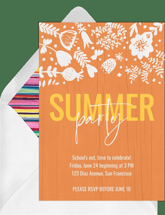 summer party invitations in orange greenvelope com