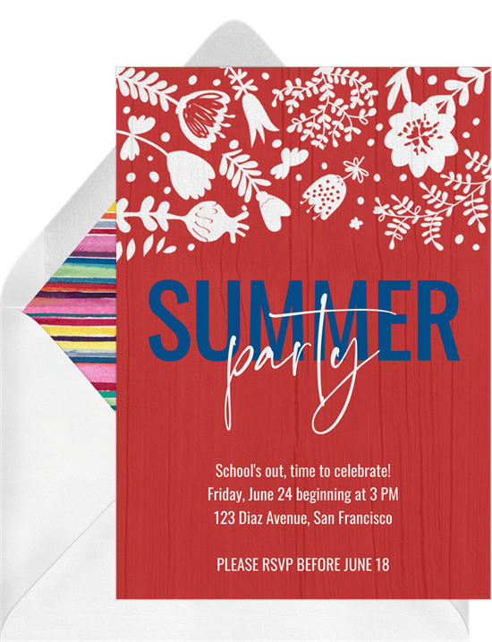 summer party invitations in red greenvelope com