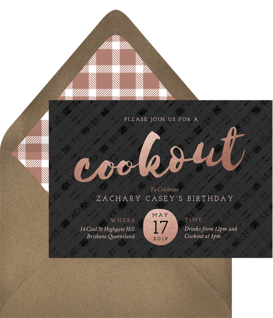 swanky cookout invitation