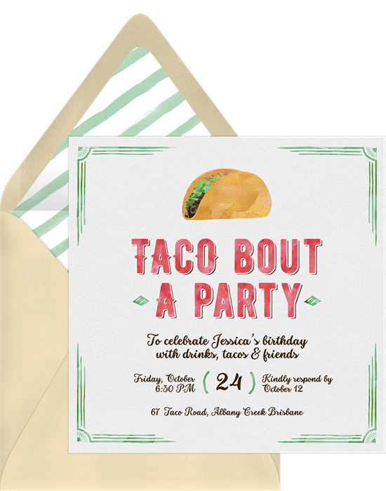 taco bout a party invitations in green greenvelope com