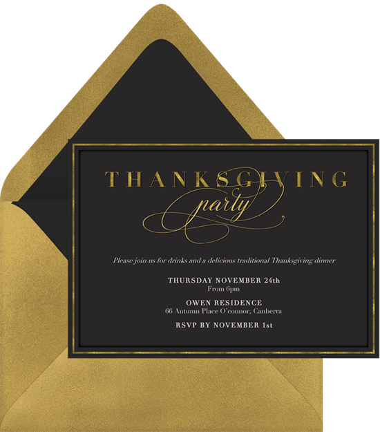 Thanksgiving Dinner Party Invitations in Black – Thanksgiving Party Invite