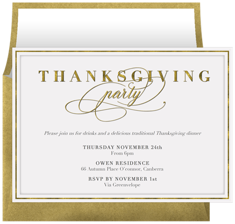 Thanksgiving Dinner Party Invitations in White – Invitation to Dinner Party