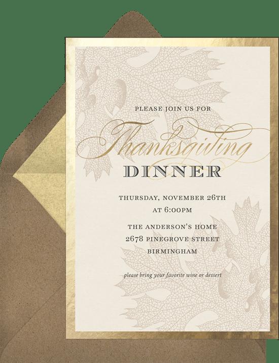 thanksgiving gold leaf invitations in creme greenvelope com