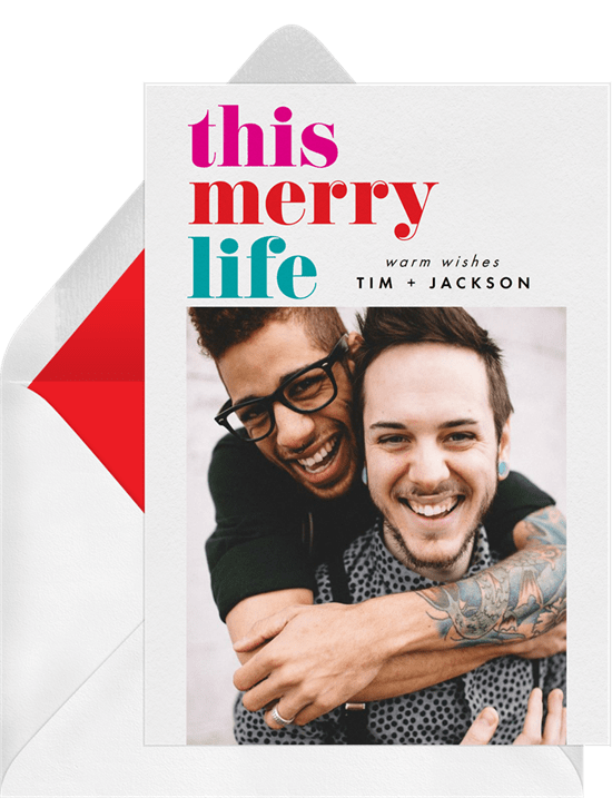 'This Merry Life' Holiday Greetings Card in Red