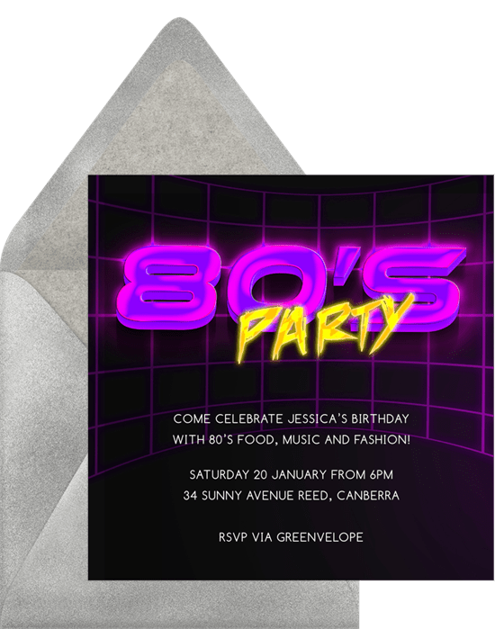 totally 80 s invitations in purple greenvelope com