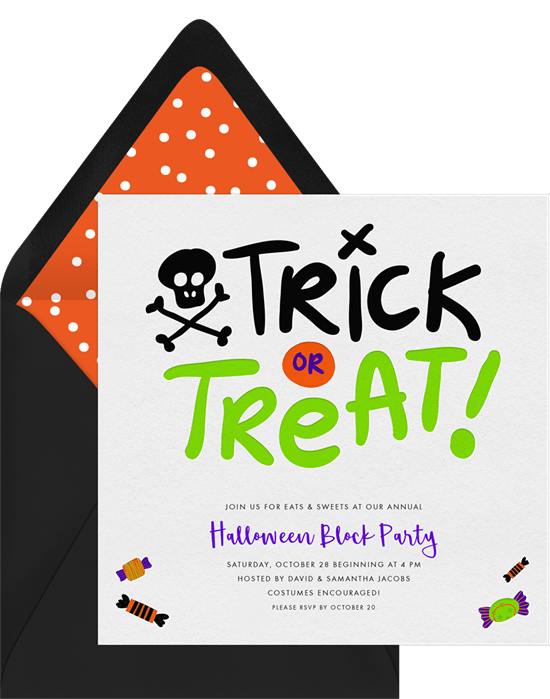Trick or treat invitations greenvelope trick or treat invitation in white stopboris Image collections