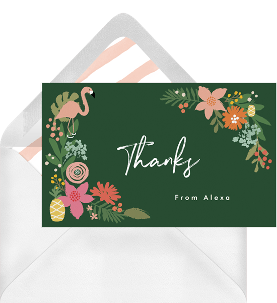 tropical flowers thank you note