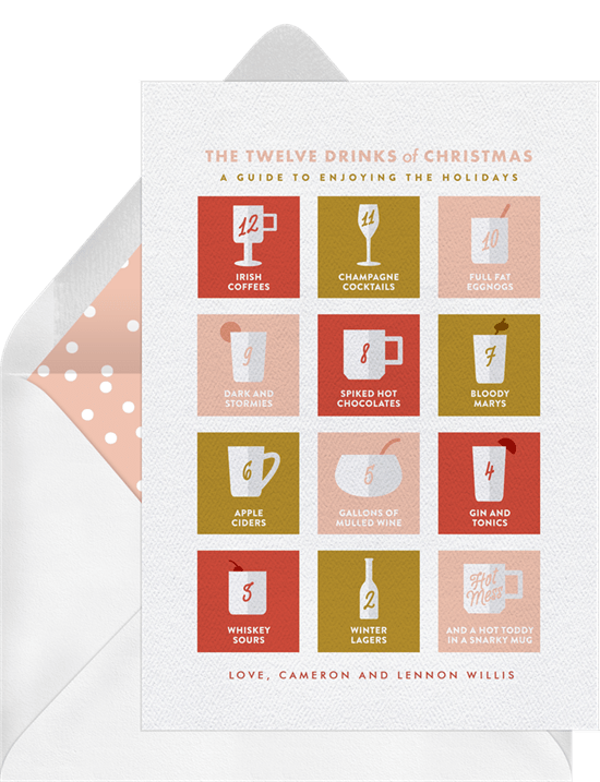 twelve drinks of christmas card - 12 Drinks Of Christmas