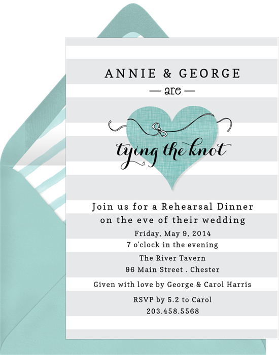tying the knot invitations in blue greenvelope com