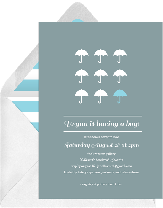 umbrella grid invitations in blue greenvelope com