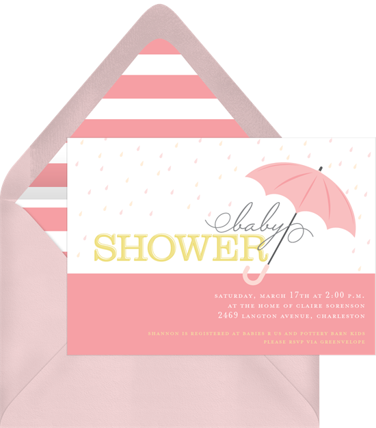 umbrella showers invitations greenvelope com
