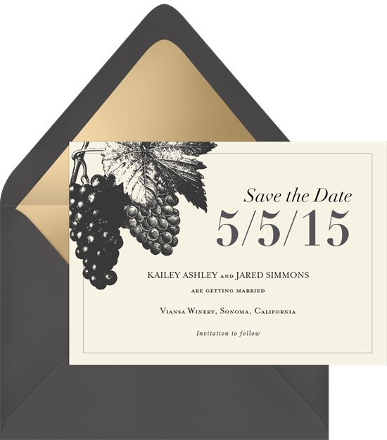 'Vineyard Vows' Wedding Save The Date in Grey