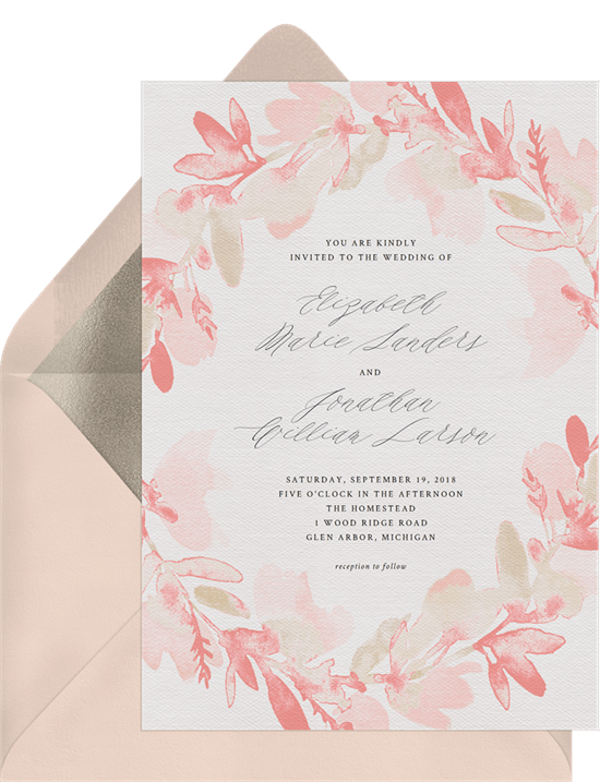 watercolor floral wreath invitation in pink