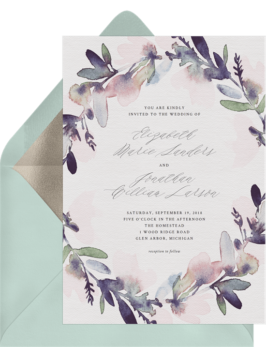 Watercolor Floral Wreath Invitation
