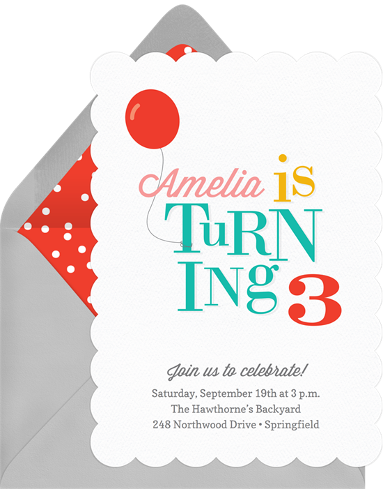 Whimsical Birthday Invitations in Red | Greenvelope.com