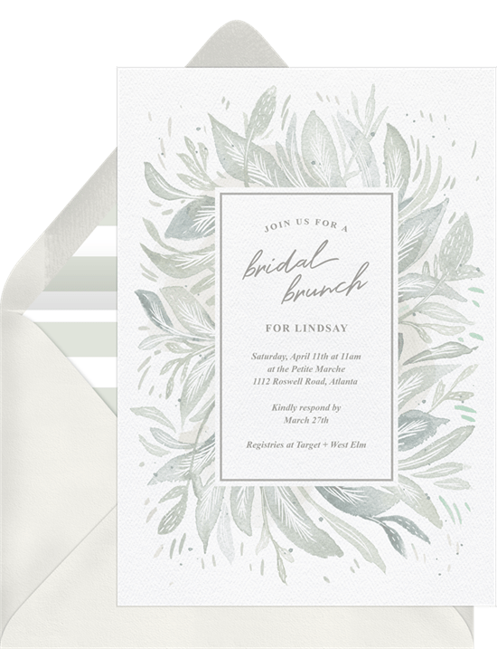 Whimsical Botanicals Invitations in Grey Greenvelopecom