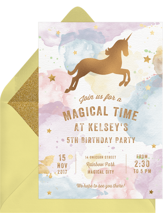 Whimsical Unicorn Invitations In Blue