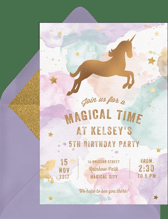 Whimsical Unicorn Invitations In Purple