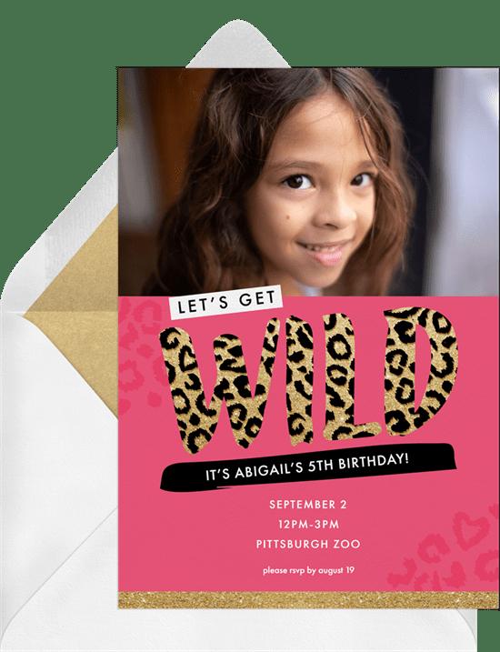 Wild Cheetah Invitations In Pink Greenvelope Com