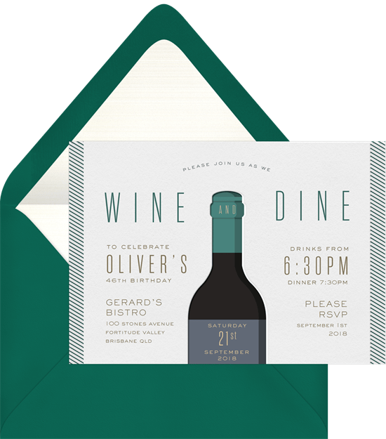 wine and dine invitations greenvelope com