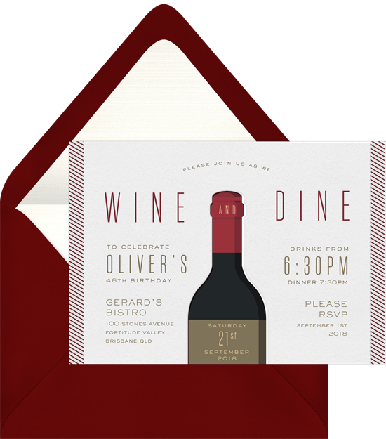 wine and dine invitations in red greenvelope com