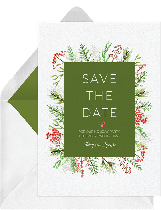 Christmas Party Save The Date Cards.Winter Greenery Frame Save The Dates Greenvelope Com