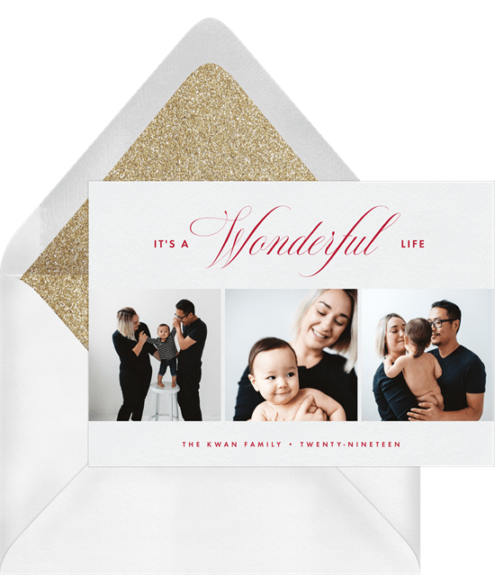 'Wonderful Life' Holiday Greetings Card in White