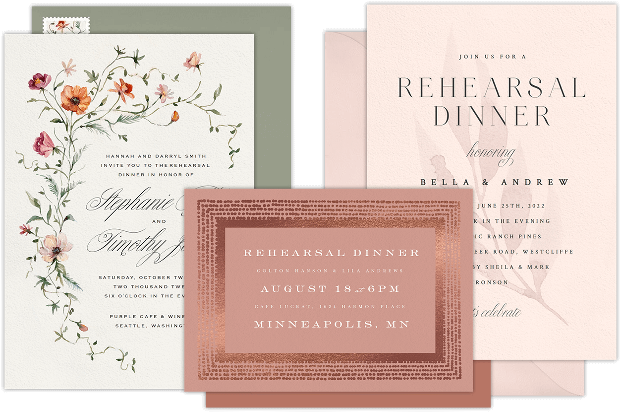 Email online rehearsal dinner invitations that wow greenvelope rehearsal dinner invitations stopboris Choice Image